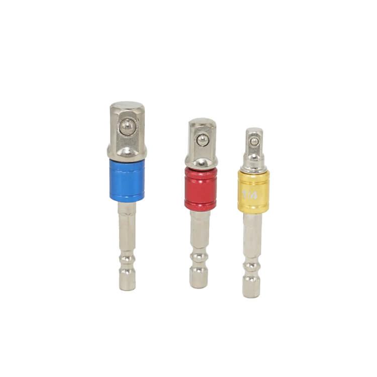 """3Pcs Hex Shank Impact Grade Socket Adapter for Holding 1/4"""" 3/8"""" 1/2"""" Sockets"""