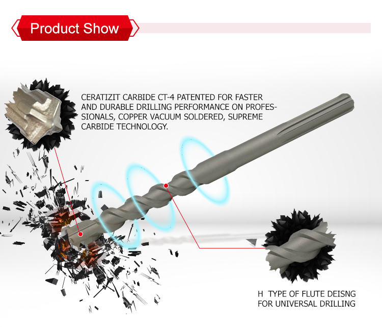 Industrial Quality SDS max Hammer Drill Bits CT 4 Cutters