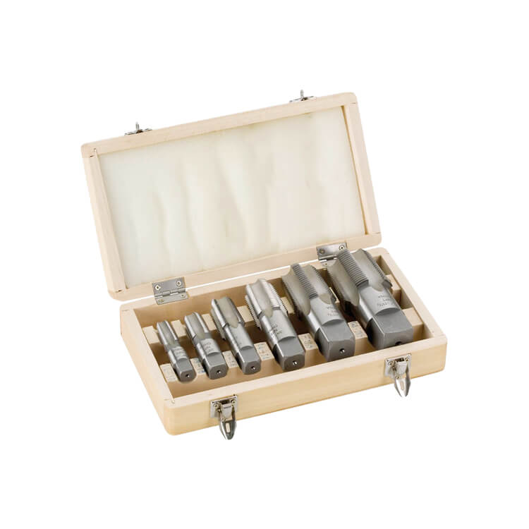 6Pcs NPT Pipe Tap Set for Steel Pipe Tapping in Wood Box